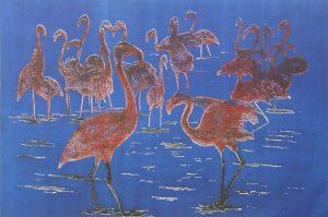 'Flamingos'. Etching