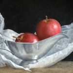 Apples in steel Gravy Boat and Paper. Oil